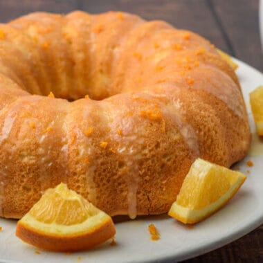 orange pound cake on white plate