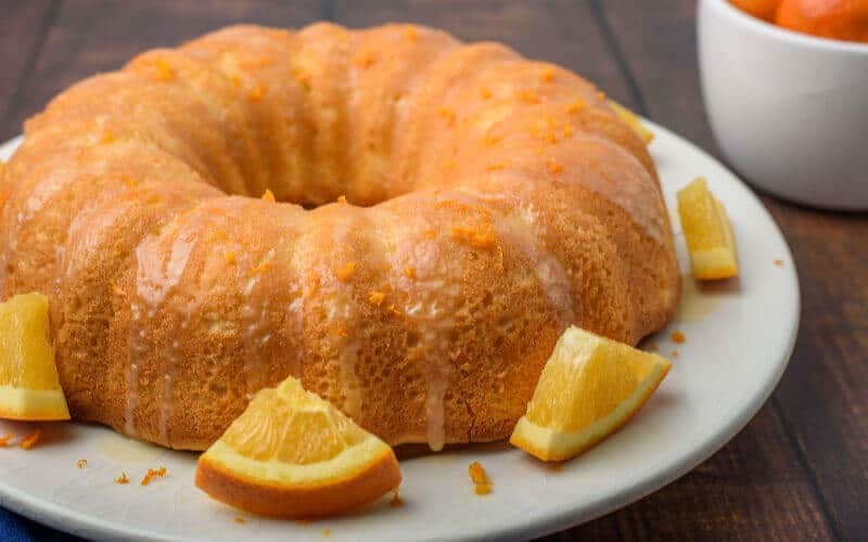 orange pound cake on white plate