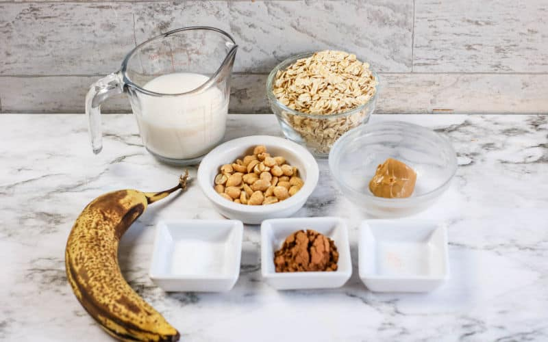 ingredients on a table for banana overnight oats