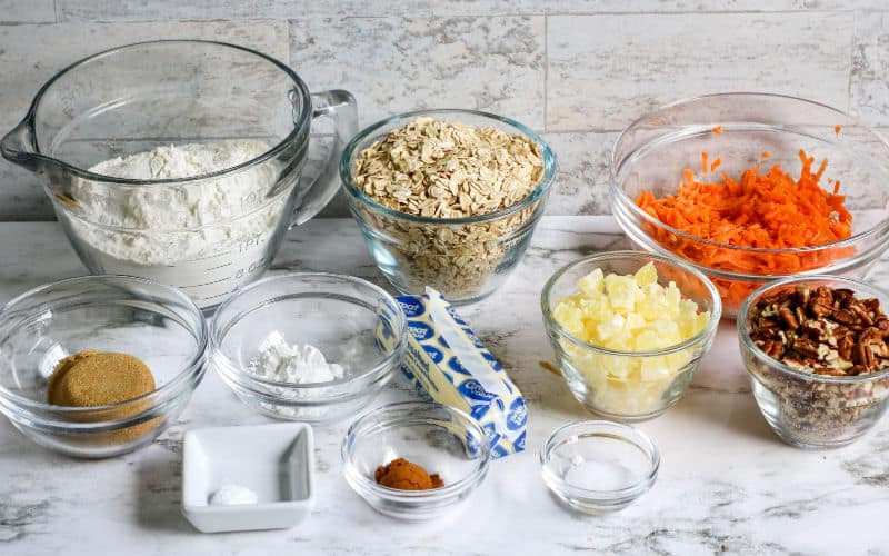 ingredients for carrot cake cookies on a counter