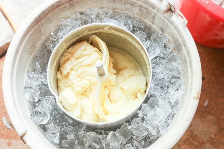 pineapple homemade ice cream in the ice cream maker