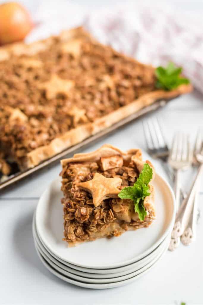 piece of apple slab pie on plate