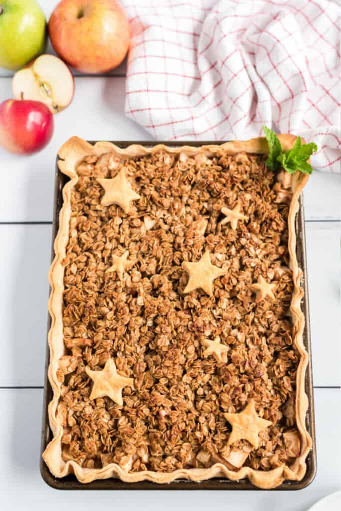apple slab pie with an oat crumble on jelly roll pan