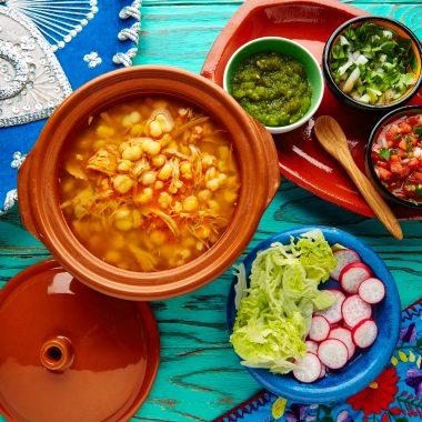 Bowl of pozole rojo