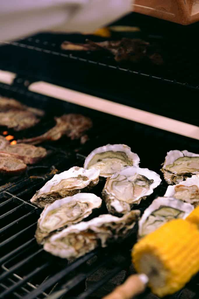 roasted oysters and corn on the cob
