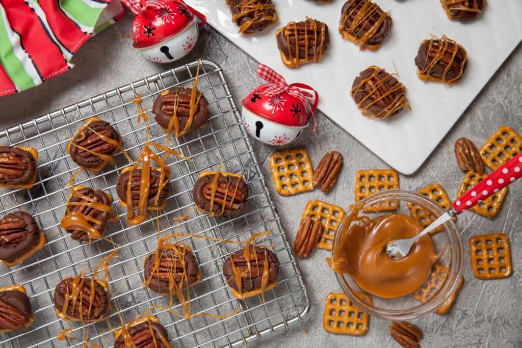 pecan turtle candy with caramel drizzle