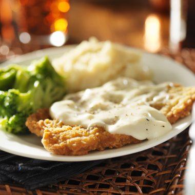 southern white gravy on chicken fried steak
