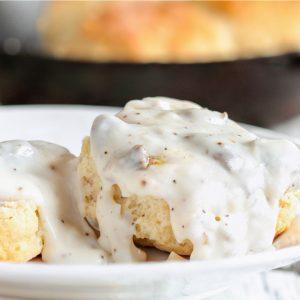 sausage gravy on biscuit