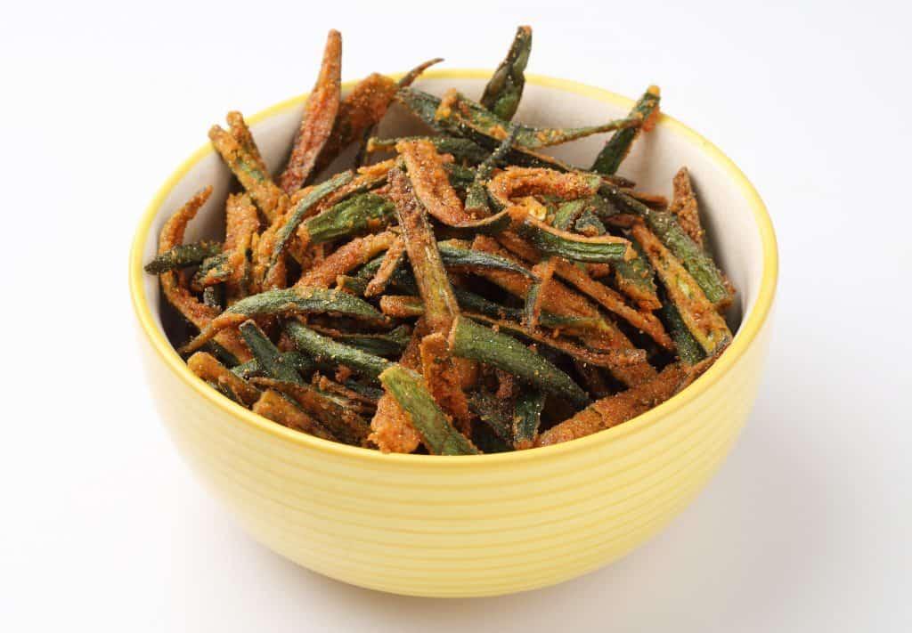 fried okra sliced lengthwise