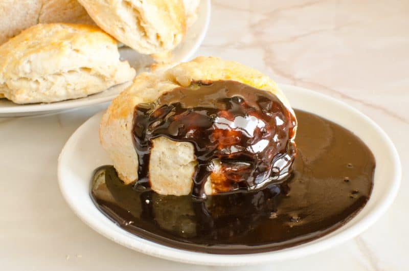 chocolate gravy on a biscuit
