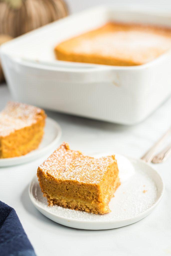 slice of pumpkin pie cake