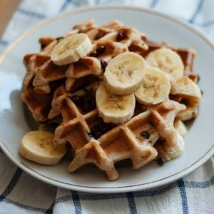 buttermilk waffles with banana
