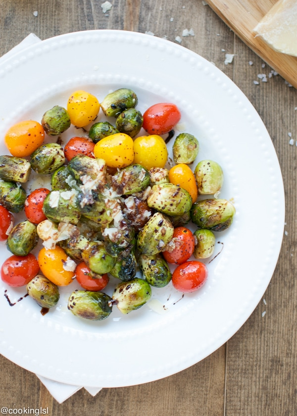 brussel sprout and cherry tomato salad