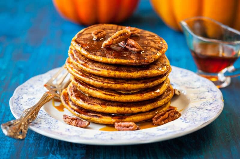 stack of pumpkin buttermilk pancakes