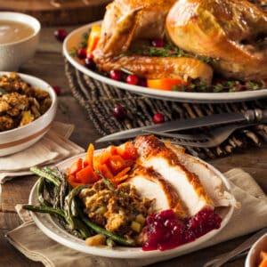 a full table of Thanksgiving dinner
