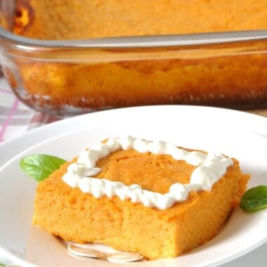 pumpkin souffle casserole with whipped topping